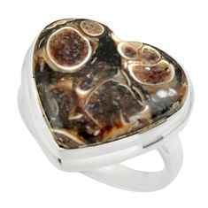 Heart natural turritella fossil snail agate 925 silver ring size 6 r44046