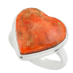 Heart red copper turquoise 925 sterling silver ring jewelry size 7 r44060