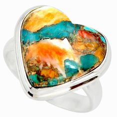 Heart spiny oyster arizona turquoise 925 silver solitaire ring size 8 r34548