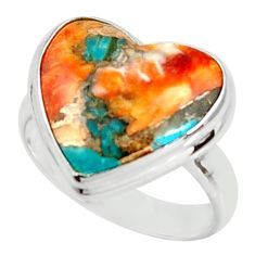 Heart spiny oyster arizona turquoise 925 silver solitaire ring size 8 r34782