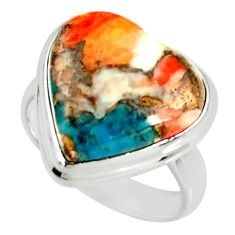 Heart spiny oyster arizona turquoise 925 silver solitaire ring size 8 r34789