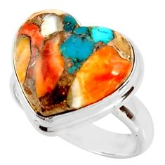 Heart spiny oyster arizona turquoise 925 silver solitaire ring size 8 r34801