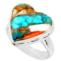 Heart spiny oyster arizona turquoise 925 silver solitaire ring size 8 r34803