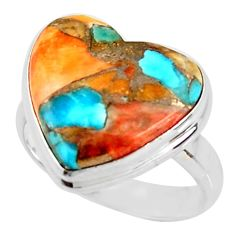 Heart spiny oyster arizona turquoise 925 silver solitaire ring size 8 r34814