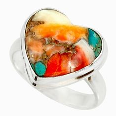 Heart spiny oyster arizona turquoise 925 silver solitaire ring size 9 r34535