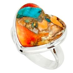 Heart spiny oyster arizona turquoise silver solitaire ring size 6.5 r34526
