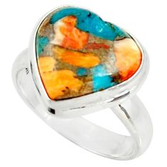 Heart spiny oyster arizona turquoise silver solitaire ring size 7.5 r34532