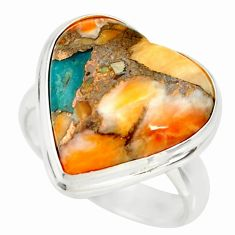 Heart spiny oyster arizona turquoise silver solitaire ring size 6.5 r34542