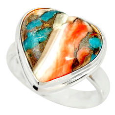 Heart spiny oyster arizona turquoise silver solitaire ring size 7.5 r34553