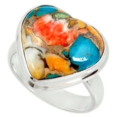 Heart spiny oyster arizona turquoise silver solitaire ring size 6.5 r34784