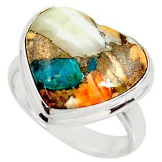 Heart spiny oyster arizona turquoise silver solitaire ring size 8.5 r34785
