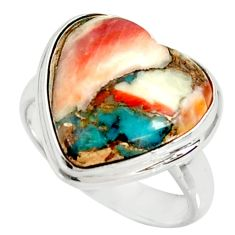 Heart spiny oyster arizona turquoise silver solitaire ring size 6.5 r34787