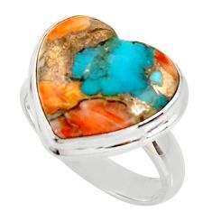 Heart spiny oyster arizona turquoise silver solitaire ring size 8.5 r34798