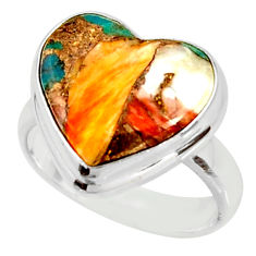 Heart spiny oyster arizona turquoise silver solitaire ring size 6.5 r34804