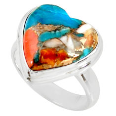 Heart spiny oyster arizona turquoise silver solitaire ring size 7.5 r34806