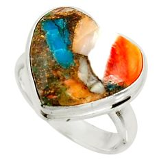 Heart spiny oyster arizona turquoise silver solitaire ring size 7.5 r34809