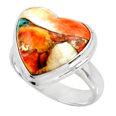Heart spiny oyster arizona turquoise silver solitaire ring size 7.5 r34820