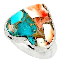 Heart spiny oyster arizona turquoise silver solitaire ring size 7 r34550