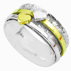4.89gms heart victorian 925 silver two tone spinner band ring size 8.5 t51708