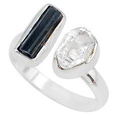 Herkimer diamond black tourmaline 925 silver adjustable ring size 9 t9894