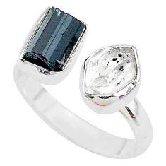 Herkimer diamond black tourmaline raw 925 silver adjustable ring size 8.5 t9902
