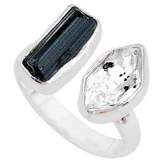 Herkimer diamond black tourmaline raw silver adjustable ring size 7.5 t9913