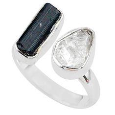 Herkimer diamond black tourmaline raw silver adjustable ring size 7.5 t9915