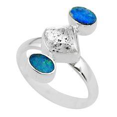 6.57cts herkimer diamond doublet opal australian 925 silver ring size 8 t49891