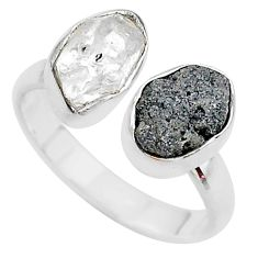 Herkimer diamond raw 925 silver adjustable ring size 8.5 t9883