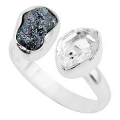 8.11cts herkimer diamond raw fancy 925 silver adjustable ring size 8.5 t9920