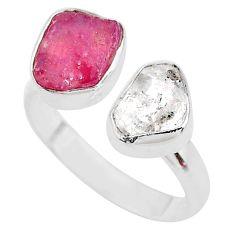 10.02cts herkimer diamond ruby raw 925 silver adjustable ring size 9.5 t9899