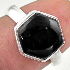 Clearance Sale- 4.45cts hexagon natural black onyx 925 silver solitaire ring size 6 t48247