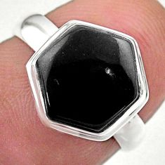 5.21cts hexagon natural black onyx 925 silver solitaire ring size 6 t48268