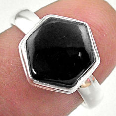 4.56cts hexagon natural black onyx 925 silver solitaire ring size 7 t48250