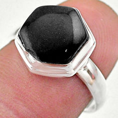 natural black onyx 925 silver solitaire ring size 7 t48264