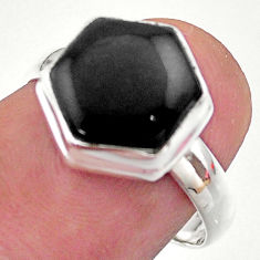 Clearance Sale- 5.43cts hexagon natural black onyx 925 silver solitaire ring size 7 t48267