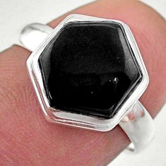 5.15cts hexagon natural black onyx 925 silver solitaire ring size 7 t48269