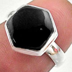 5.19cts hexagon natural black onyx 925 silver solitaire ring size 7 t48274