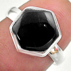 Clearance Sale- 4.92cts hexagon natural black onyx 925 silver solitaire ring size 7 t48280