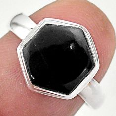 5.52cts hexagon natural black onyx 925 silver solitaire ring size 7 t48283