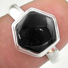 5.80cts hexagon natural black onyx 925 silver solitaire ring size 8 t48256