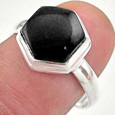 Clearance Sale- 5.43cts hexagon natural black onyx 925 silver solitaire ring size 8 t48261
