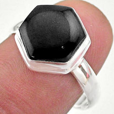 4.89cts hexagon natural black onyx 925 silver solitaire ring size 8 t48263