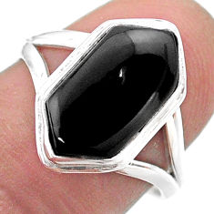 6.02cts hexagon natural black onyx 925 silver solitaire ring size 8 t48539