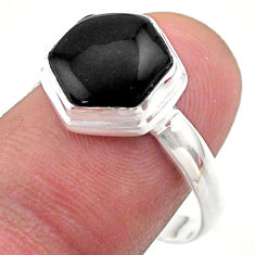 5.71cts hexagon natural black onyx 925 silver solitaire ring size 9 t48266