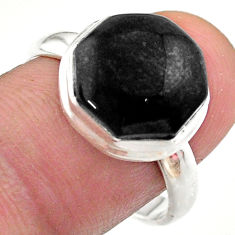Clearance Sale- 6.27cts hexagon natural black onyx 925 silver solitaire ring size 9 t48359