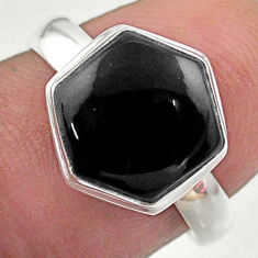 5.43cts hexagon natural black onyx 925 silver solitaire ring size 7.5 t48246