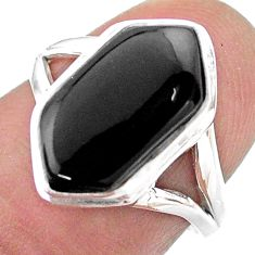 Clearance Sale- 5.58cts hexagon natural black onyx 925 silver solitaire ring size 6.5 t48559