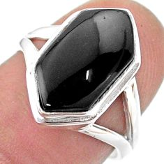 5.63cts hexagon natural black onyx 925 silver solitaire ring size 6.5 t48560