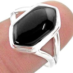 5.84cts hexagon natural black onyx 925 silver solitaire ring size 7.5 t48562